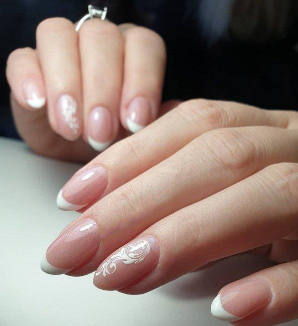 French manicure on almond-shaped nails