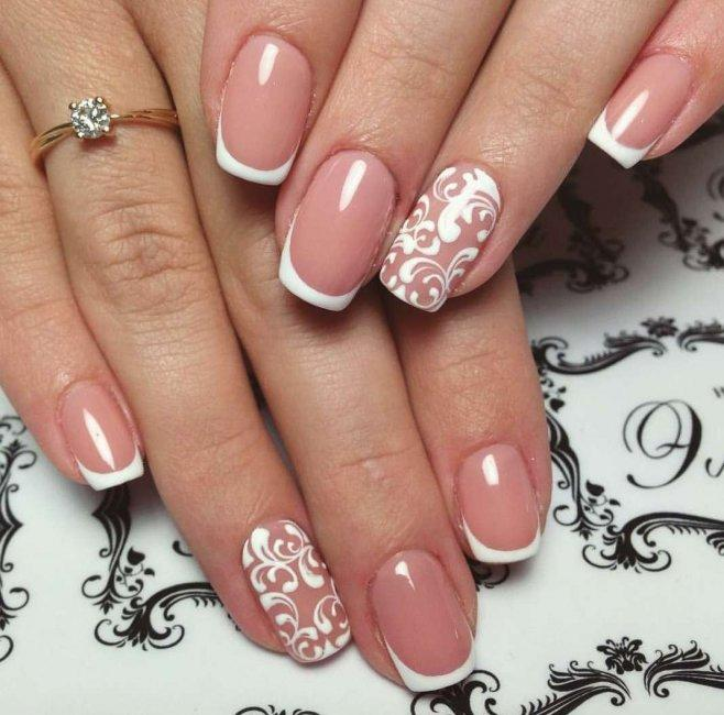 French manicure with a beautiful pattern